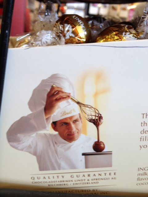 "dashingly handsome chef says, ""I love chocolate almost as much as I love you..."" *wink*"