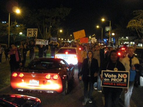 we received a surprising amount of support from inconvenienced commuters as we marched east on Santa Monica Blvd