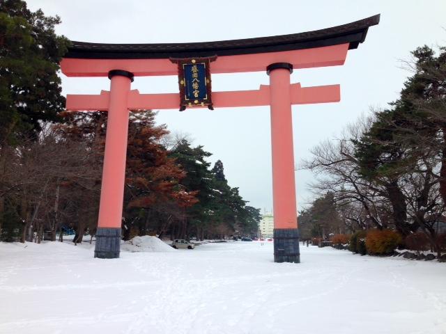 Tori at Hachiman Shrine in Morioka, Japan